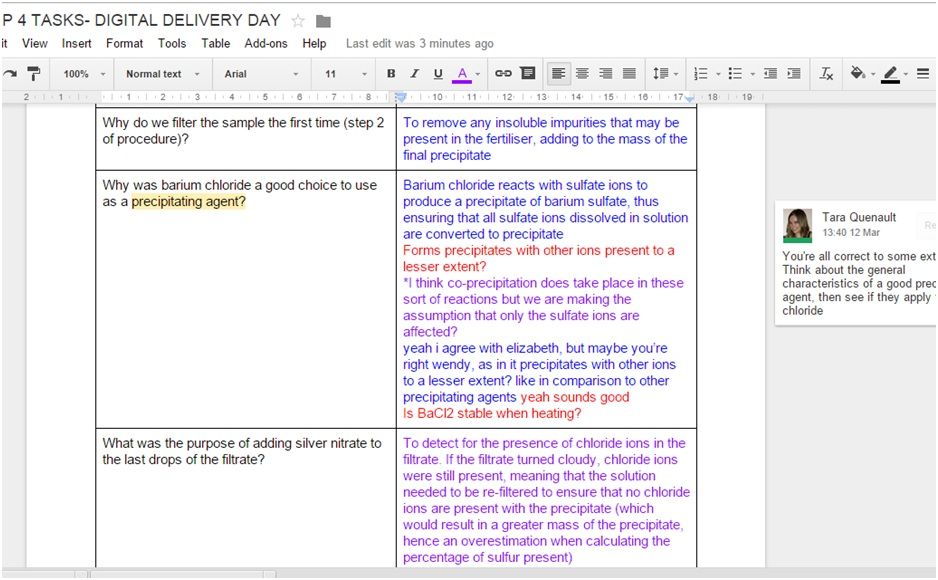Google Docs were used as a tool.
