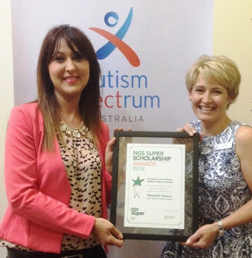 Liz Watson, right, receives her scholarship award from by Jorjet Issavi, NSW Client Relationship Manager, NGS Super.