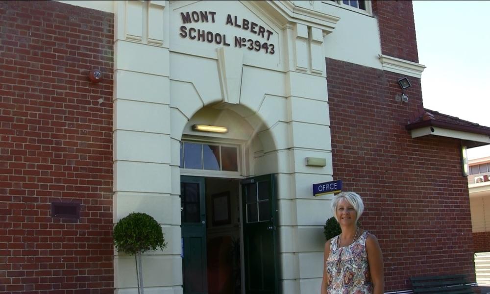 Principal Sharon Saitlik in front of Mont Albert Primary School in Melbourne.